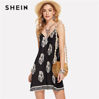 SHEIN Black Vacation Backless Boho Bohemian Beach Geometric Print Tribal V Neck Natural Waist Cami Dress Summer Women Sexy Dress