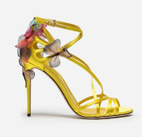Summer yellow black sandals women butterfly flowers embellished high heels strappy 2018 sexy wedding shoes zapatos mujer