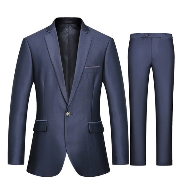 WOLF ZONE Brand Suit Men Business Casual Slim Fit Suits with Pants Luxury Blazer Mens Formal Wedding Suit Mens Party Jacket