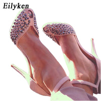 Eilyken Women High Heels Design Rivet Stiletto Pumps Sexy Lady Peep Toe Sandals Strap Buckle Princess Party Shoes