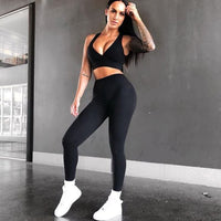 ESHINES 2 Piece Sport Wear Set Women 2018 Sexy Workout Clothes Fitness Gym Clothing Yoga Sets Running Sports Suits Jogging Suit