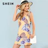 SHEIN Multicolor Vacation Bohemian Beach Backless Pineapple Natural Waist Cami Straight Dress Summer Women Weekend Casual Dress