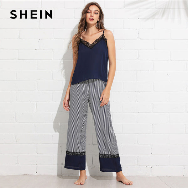 f277d55e0 SHEIN Multicolor Casual Lace Trim Cami Top and Wide Leg Striped Pants PJ  Set Summer Women