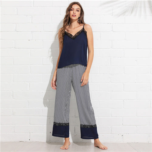 SHEIN Multicolor Casual Lace Trim Cami Top and Wide Leg Striped Pants PJ Set Summer Women Easeful Nightwear