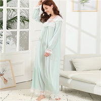 SHEIN Green Elegant Lace Trim Knot Detail Semi Sheer Square Neck Long Sleeve Night Dresses Autumn Women Casual Sleepwear