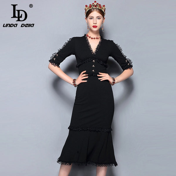 LD LINDA DELLA Fashion Runway Summer Dress Women's V-Neck Vintage Black Lace Patchwork Bodycon Sexy Mermaid Party Dress 2018