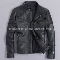 Bakham genuine leather male leather clothing motorcycle clothing leather jacket slim stand collar short design beckham leather