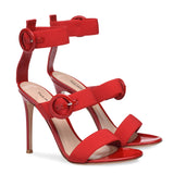 Red Three Elastic Straps Sandals Sexy Black Buckles Strappy High Heel Summer Shoes Women Dress Heels Nude Stilettos