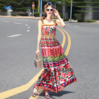 MoaaYina Designer Runway Dress Summer Women Rose Print Beaded Spaghetti strap Backless Ruched Holiday Elegant Vintage Dress