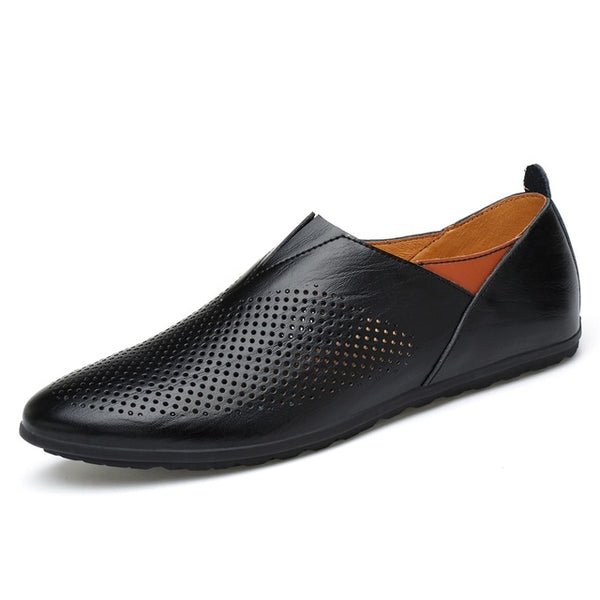 XGVOKH 37-45 Size Men Genuine Leather Driving Loafers Shoes Breathable Hollow Men Casual Shoes Flats Summer Slip On Moccasin