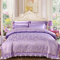 Sliver Golden Luxury Queen King size bedding sets Lace Silk Satin Cotton bed set Duvet cover Bed sheet set Bedlinens pillowcase
