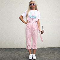 Spring Autumn New Fashion Women's European American Hip Hop Siamese Waist Casual Pants Loose Trousers Straps Jumpsuit CSS020