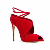 Arden Furtado summer high heels 12cm big size 40-45 sandals shoes for woman fashion cage red evening party shoes small size