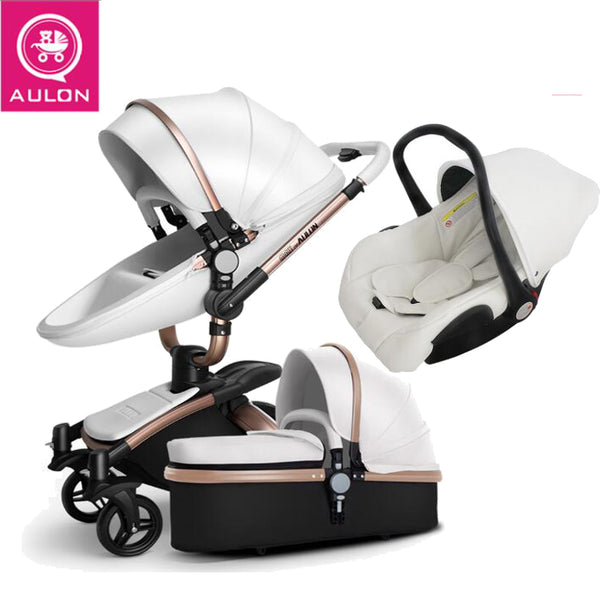 AULON Baby stroller 3 in 1 and 2 in 1 stroller artificial leather can sit and lie four seasons winter Russia Free Shipping