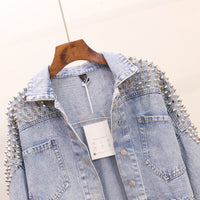 European Vintage Short Jean Jacket Coat Woman  Autumn New Heavy Rivet Loose Bat Sleeve Denim Jackets Women's Handsome Jacket