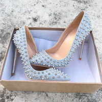 NEW PU leather high heeled lady pumps Rivet pointed toe woman party shoes slip-on sliver color wedding shoes pumps