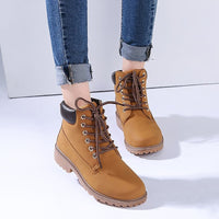 High quality leather lace-up martin boots women new fashion winter women boots high top ankle snow boots women shoes