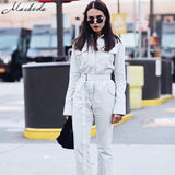 Macheda New Autumn Personality Denim Jeans Tight Sashes Siamese Jumpsuit Women Jumpsuit Long Sleeve Rompers