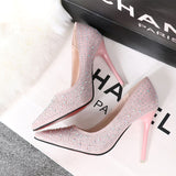 Women Shoes High Heels Pumps 11CM  PU Leather Wedding Shoes Shining High Heels Ladies Party Sliver Flashing Shoes Red Bottom