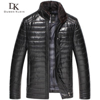 Luxury leather coats men Genuine Leather Dusen Klein 2017 New High quality mens sheepskin Winter coat Black 51D511