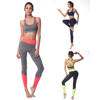 Belleziva Women Sports Bras Padded Yoga Set Skinny Trousers Fitness Pants 2 Piece Tracksuit Sexy Running Gym Workout Sport Suits