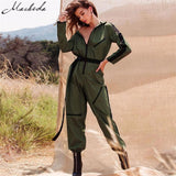 Macheda Fashion Turndown Collar Sexy Women Zipper Long Sleeve Stripe Jumpsuit Belt Long Pants Jumpsuits Casual Overalls
