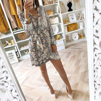 Rust Snake Print Plung Neck Wrap Dress Bohemian Beach Vacation Flared Dress Women Autumn Short Casual Elegant Dress