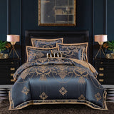 2018 New Luxury Silk Jacquard Bedding Set Cotton Duvet Cover Bed Set Pillowcase 4/6Pcs Queen king size Bedsheet linen set