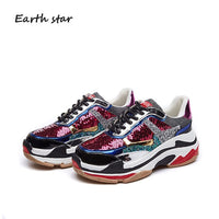 EARTH STAR Autumn Girl New Fashion Brand Shoes Women Glitter Sneakers Cross-tied Sequins Lady Platform Shoes Bling Breathable