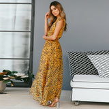 Plus Size Women Summer Sexy Elegant Party Dress Leopard Fashion Maxi Beach Sundress