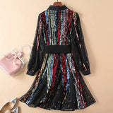 Runway High Quality 2018 Autumn New Women'S Fashion Party Work Sexy Vintage Elegant Chic Sequin Christmas Long Sleeve Dress