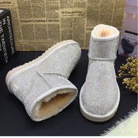 Newest Rhinestone Australia Boots Bling Crystal Sheepskin Sheep Fur Snow Boots Warmest Shearling Winter Shoes