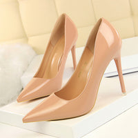 2018 Woman 10CM High Heels Shoes Female Stiletto Bright Gold Sliver Nude Patent Leather Pointed Toe Heels Classic Pumps DS-B0152