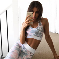 Women Yoga Sets Gym Elastic Running Sport Suit Fitness Clothing Workout Sport Wear Sports Bra+Pant Light camouflage color