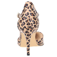 LOSLANDIFEN Women Leopard Pumps 8CM High Heels Patent Leather Pointed Toe Bridal Shoes Ankle Strap Pumps Plus Size 35-42