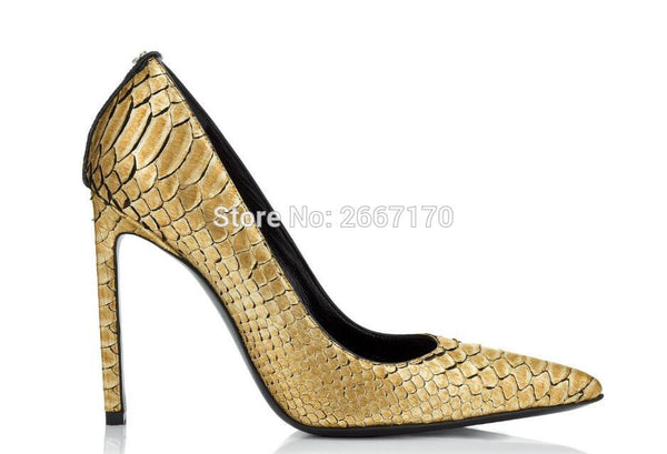 Chaussures Femme Gold Silver Embossed Leather Pumps Lady Pointy Toe High Heels Snakeskin Shoes Luxury Heels Women 2018