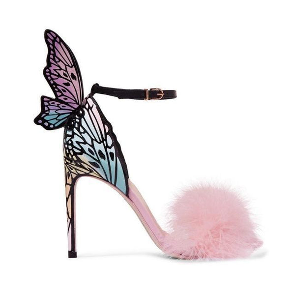 Qianruiti Pink Feather Stiletto Heels Women Pumps Butterfly Wings Bridal Wedding Shoes Ankle Buckle Strap High Heels Sandals