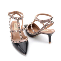 The new v home pointed rivets heels nude color high heels fine with strap sandals bridesmaid wedding shoes female summer