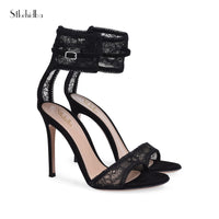 Stkehidba New Women Pumps Ladies Sexy Lace Strap Roman High Heels Open Toe Sandals Party Wedding Shoes Size 34-44 Leather Shoes