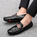 Luxury Brand Shoes Men Loafers Moccasin Crocodile Style Footwear Slip On Flat Driving Shoes Classical Male Gommino Zapatos D50