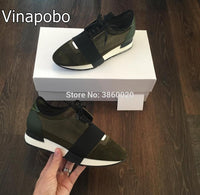 Genuine Leather Luxury Brand Women Fashion Shoes Flats Nude Black Mesh Leather Lace Up Men'sTrainers Men Casual Shoes