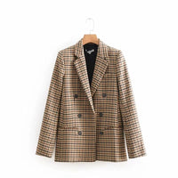 2018 Female Temperament Coat Fashion Spring And Autumn New High quality Loose Personality Slim Long Sleeve Plaid Suit Coat H0117
