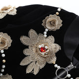 2018 High Quality Latest Autumn New Arrival Polyester V-Neck Full Sleeve Three-dimensional Flower And Beading Black Jacket Women