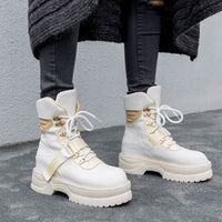 Daitifen Spring/Autumn Microfiber Ankle Boots Round Toe Women Boots Belt Buckle Motorcycle Boots Solid Lace-Up Platform Boots