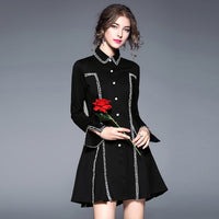 Runway Dresses 2018 Spring Autumn Women Turn Down Collar Single Breasted A-line Dreses Casual Party Dresses Vestidos Robe Okb532