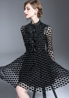 Short Dress High Quality 2018 Spring Summer New Women'S Party Fashion Sexy  Mesh Heart Vintage Elegant Black Long Sleeve Dresses