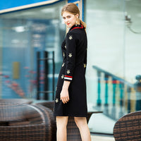 Runway Designer High Quality Autumn New Women'S Fashion Party Sexy Vintage Elegant Chic Bee Embroidery Black Long Sleeve Dress