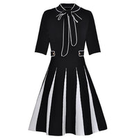 High Quality Women's Casual Dresses Bow Collar Short Sleeves Elastic Waist Knitted Dress 2018 Autumn New Style