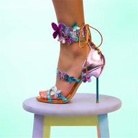 New Mirror Pink Butterfly Sandals Women Metal thin High Heels Summer Shoes Woman Ankle Strap lace up Party Shoes Sandalias mujer