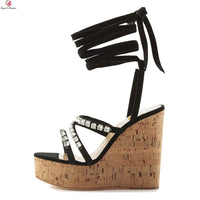 Original Intention New Arrival Women Sandals Sexy Open Toe Popular Wedges Heels Sandals Black Prom Shoes Woman Plus US Size 5-14